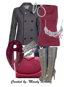 feat. Premier Designs jewelry  #pdstyle red tank, grey coat, sexy boots, red bag, red scarf