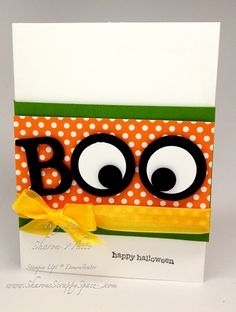 handmade Halloween card from www.SharonsScrappySpace.com ... die cut BOO with the O's dressed as cross eyes ... cute and fun in bright colors ...