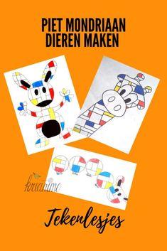 Mondrian animal drawings for kids - Kreanimo Piet Mondrian, Animal Drawings, Art Drawings, Drawing Animals, Hansel Y Gretel, Fantasy Kunst, Art Curriculum, Math Art, Art Lessons Elementary