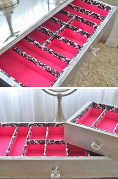 Are you in dire need of a DIY makeup organizer? These awesome DIY makeup organizer ideas will save you space and trouble! Diy Drawer Organizer, Makeup Drawer Organization, Diy Makeup Storage, Organization Hacks, Bedroom Organization, Storage Organizers, Organizing Ideas, Drawer Dividers, Craft Storage
