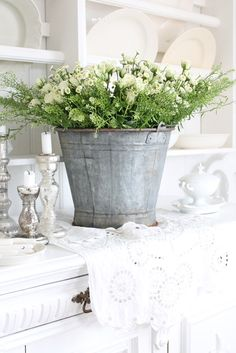 galvanized bucket for spring flowers