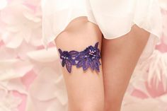 Wedding Garter   Purple Venise Lace purple garter