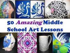 50 Amazing Middle School Art Lessons from The Art Teacher on TeachersNotebook.com (51 pages)  - As an art teacher for many years, I've found that you can never have too many art ideas...especially at the middle school level. This PowerPoint presentation contains well nearly 200 pictures and shows 50 new, tried and true art lessons that I'v schools, art teacher, middle school art lessons, craft idea, school level, middl school, art lessons for middle school, middle school art ideas, teach idea