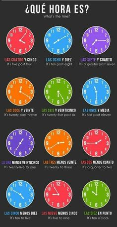 Cómo decir la hora en español how to tell the time in spanish Spanish Help, Learn To Speak Spanish, Spanish Basics, Spanish Phrases, Spanish Grammar, Spanish Vocabulary, Spanish Words, Spanish English, Spanish Language Learning