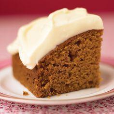 pumpkin pie spice cake with honey frosting