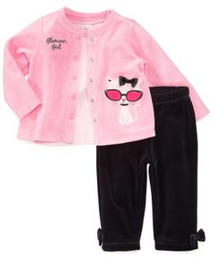First Impressions Baby Set, Baby Girls Kitten Velour 3-Piece Tee, Jacket and Pants - Kids Baby Girl (0-24 months) - Macy's