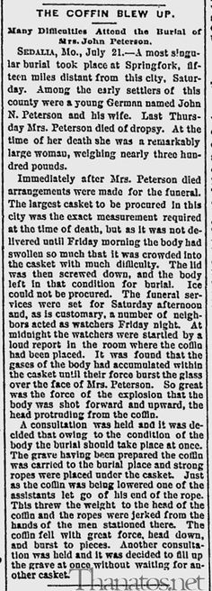 Exploding Coffin ~ 1890 - what happens when gas builds up in a corpse