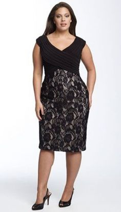 Adrianna Papell Plus Size Matte Jersey Lace Sheath Dress Plus Size Party Dresses, Plus Size Outfits, Lace Outfit, Dress Outfits, Curvy Fashion, Plus Size Fashion, Looks Plus Size, Lace Sheath Dress, Lace Skirt