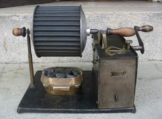 """Check out this coal fired coffee roaster from France. It winds up like a phonograph or a clock and then rotates """"LENTE/RAPIDE/ARRET"""" based on the selection of the brass lever quadrant on top."""