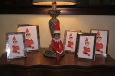 Replacing all the frames in the house with photos of the Elf.... I think the joy in this would be seeing how long it would take for the kids to notice.... it has cheeky elf charm!