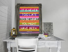 Inspirational Poster - It Is Never Too Late to Be What You Might Have Been. Colorful, Printable, Motivational Wall Decor, Typography, Art *Instant Download