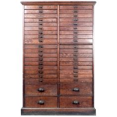 Beautiful 40 Draw Oak Cabinet | See more antique and modern Cabinets at https://www.1stdibs.com/furniture/storage-case-pieces/cabinets