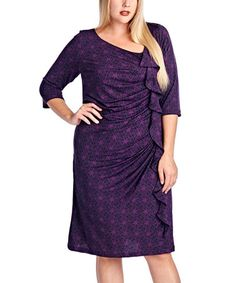 Look what I found on #zulily! Purple Floral Ruched Dress - Plus #zulilyfinds