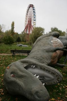 Dead dinosaurs in Spreepark, - opened 1969, closed 2002 - Berlin, Germany.