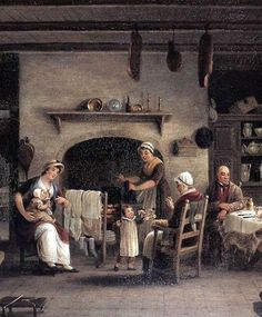 Inside view of a peasant's cottage, by  John George Mulvany.