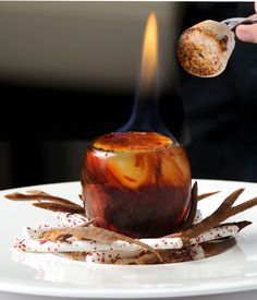 Simon Hulstone is renowned for producing dishes of real invention and this pyro-gastronomic dessert is truly mind-blowing. 98% proof alcohol and freeze-dried strawberries are available online so if preparing for Bonfire Night - plan ahead and buy them well in advance for this challenging recipe.