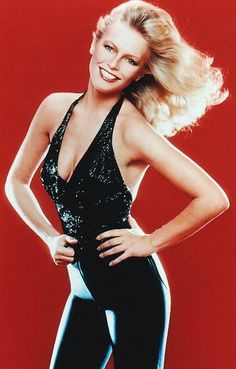 Cheryl Ladd in Bob Mackie beaded halter and spandex pant (very 80's) ♥✤#sexy ✿✿ڿڰۣ(̆̃̃-- ♥ NYrockphotogirl