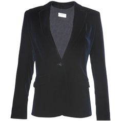 Frame Velvet Blazer ($548) ❤ liked on Polyvore featuring outerwear, jackets, blazers, blue, single button blazer, blazer jacket, 1 button blazer, blue velvet blazer and one button jacket
