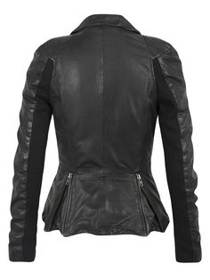 https://www.cityblis.com/5301/item/15003 | Lyra Leather Biker Jacket in Black - $627 by Muubaa | This ultra-fitted feminine biker with skinny jersey backed sleeves has exposed zips, poppered collar, a zipped pocket on the sleeve and zipped back vents. The jacket has been lightly garment washed to bring out the texture and character of the leather and to give it a slightly worn-in appearance. Th... | #Coats/Jackets