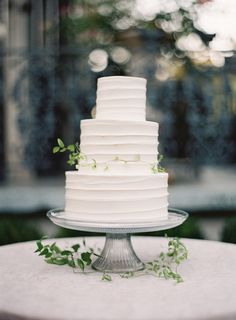 White Wedding Cake Minimalism with Vine Accent