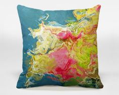 Abstract art pillow cover, 16x16, 18x18, 20x20, blue and hot pink decorative pillow cover, throw pillow cover, accent pillow Aria