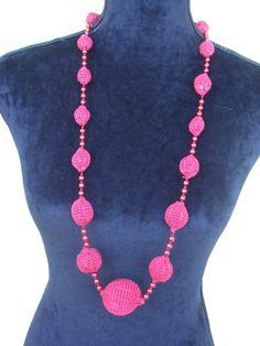 collana rossa sfere perle cotone uncinetto, by maglieria magica, 25,00 € su misshobby.com