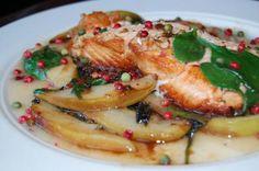 Grilled Wild Salmon with HimalaSalt, Pink & Green Peppercorns, & Pear Sauce Recipe. #Himalayan Salt Recipes