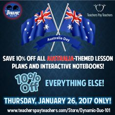 #TpTAustraliaDay Sale!  https://www.teacherspayteachers.com/Store/Dynamic-Duo-101
