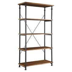 Display leather-bound tomes and objets d'art with this industrial-chic pine wood bookcase, showcasing 4 shelves and an x-shaped back.
