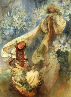 Madonna of the Lillies by Alphonse Mucha. Less stylised than the other ones I've posted by him, but with the same interesting use of line on the girl in the foreground.  It's more striking in that it's missing from Our Lady.