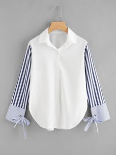 Sheinside Colorblock Striped Sleeve Tie Detailed Top Button Turn Down Collar Long Sleeve Shirt 2018 Spring Women OL Work Blouse Girls Fashion Clothes, Teen Fashion Outfits, Girl Fashion, Clothes For Women, Fashion Design, Ladies Fashion, Fashion Tips, Womens Fashion, Blouse Styles