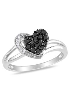 0.25Ct Black And White Diamond Heart Ring In 10k Gold