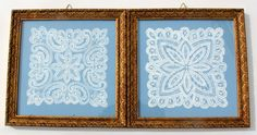 Hand Painted Battenburg Lace on Reclaimed Wood - Framed and Ready to Hang (25.00 USD) at NostalgiaVermont