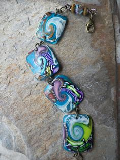 Turquoise Dreams.. Polymer Clay Tile Bracelet by ClayfulIntentions, $14.00