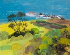 'The Long Field. Cornwall' by Elaine Pamphilon (mixed media on canvas)