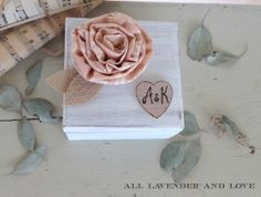 Pink and Cream Rose Personalized Ring Bearer Box with ring pillow distressed white