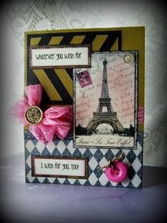Eiffel Tower card Shabby French style greeting French