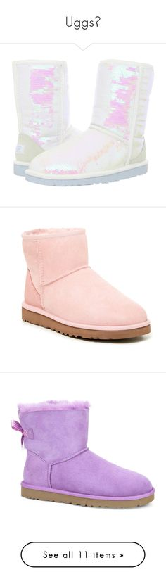 """Uggs"" by queen-peaches ❤ liked on Polyvore featuring shoes, boots, ankle booties, uggs, ankle boots, white fur boots, fur booties, bootie boots, pink fur boots and faux fur booties"