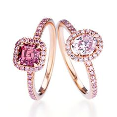 Pink De Beers Aura Diamond Rings