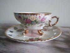 Vintage Tilso Japan Porcelain Hand Painted Footed Tea Cup & Saucer