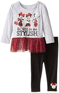Disney Baby Girls' Minnie Mouse Born To Be Stylish Tunic Legging Set, Multi, 12 Months. Heathered jersey tunic with printed jersey ruffles. Cute Baby Girl Outfits, Toddler Girl Outfits, Cute Baby Clothes, Baby Girl Dresses, Baby Girls, Tunic Leggings, Disney Shirts, Baby Disney, Baby Girl Fashion
