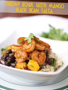 shrimp bowl with mango black bean salsa