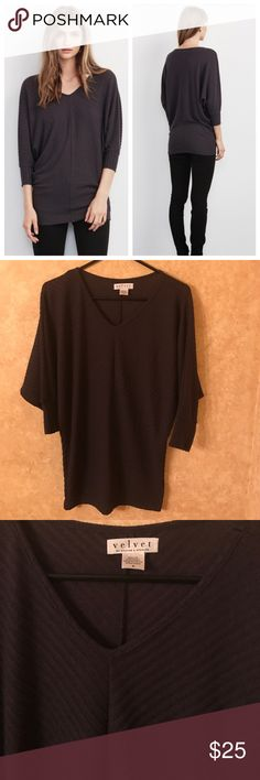 """Velvet Graham & Spencer Manalia Ribbed Tunic Top Very sophisticated and flattering! Sleeves are in the """"bat wing"""" style, see pictures. Minor wash wear and snags, but still in very good condition with plenty of wear. Top has some stretch. Length is about 28.5 inch. Velvet Tops Tunics"""