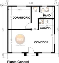 Planos y foto cabaña para el campo 1 dormitorio - Viviendas Tríade 1 Bedroom House Plans, Cottage Style House Plans, Beach Cottage Style, Minimalist House Design, Small House Design, Studio Type Apartment, Small House Floor Plans, Garage Makeover, Apartment Plans