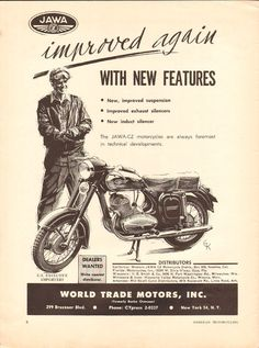 Jawa - improved again with new features. New imporved suspension; New induct silencer. The Jawa - CZ motorcycles are always foremost in technical developments. 9 x 12 Condition: Magazine Ads, Old Ads, Best Dad, Vintage Ads, Motorcycles, Bike Stuff, Brochures, Advertising, Cars