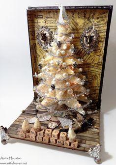The Artful Maven: Lighted Bottle Brush Mega Christmas Tree? Christmas Shadow Boxes, 3d Christmas, Christmas Projects, Beautiful Christmas, Christmas Ornaments, Christmas Ideas, Christmas Villages, Vintage Christmas, Handmade Christmas Decorations