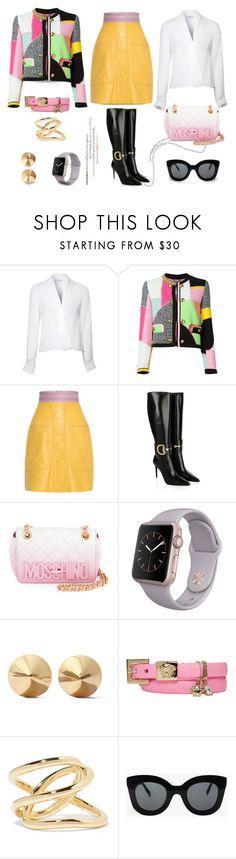 """Patchwork Jacket Style..."" by unamiradaatuarmario ❤ liked on Polyvore featuring Lipsy, Moschino, Roksanda, Gucci, Eddie Borgo, Versace, Jennifer Fisher, CÉLINE, women's clothing and women"