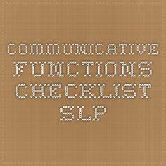 Communicative functions checklist - SLP