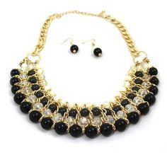 Schwarz-Bubble-Kugeln-Statement-Kette-Ohrhänger-Set-Chunky-Gold-Modeschmuck-Glamondo