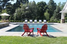 Thinking of building a pool? Need some inspiration? Outdoor Chairs, Outdoor Furniture Sets, Outdoor Decor, Backyard Renovations, Building A Pool, Pool Landscaping, Swimming Pools, Tropical, Canada